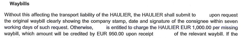 Exemplu de prevedere contractuală referitoare la întârzierea predării CMR-ului original