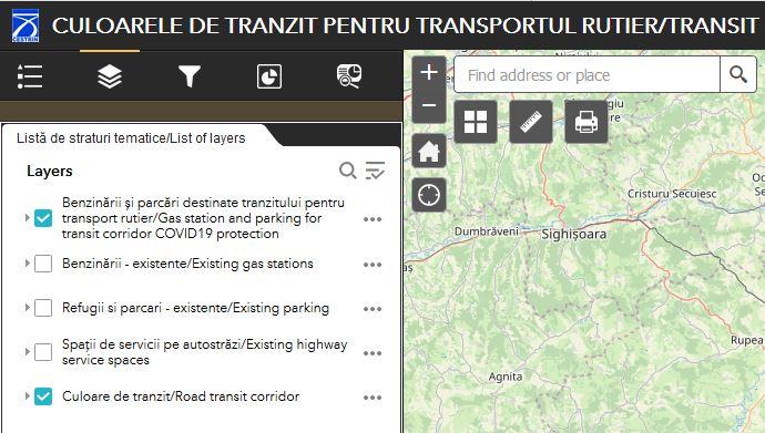 Header CULOARELE DE TRANZIT PENTRU TRANSPORTUL RUTIER/TRANSIT CORRIDORS - FOR ROAD TRANSPORTATION - screenshot din aplicatie