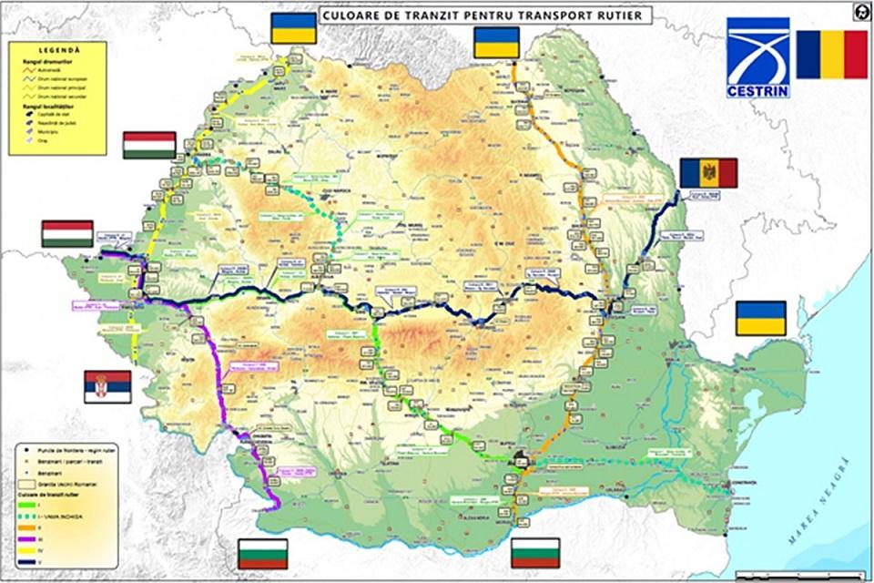 Culoarele de tranzit pe teritoriul Romaniei