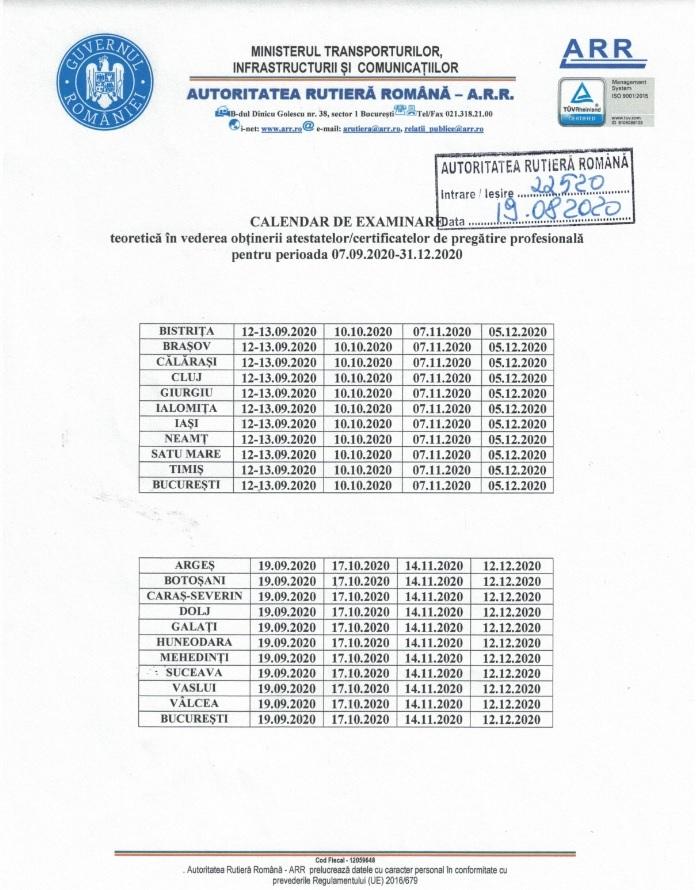 Calendarul de examinare teoretica in perioada 07.09.2020 - 31.12.2020